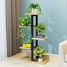Holz Und Eisen Tischplatte Regal Rack Sukkulente Mini Blumentreppen Ecke Pflanze Display Regal-schwarz 25x24cm 10x9inch CCSUN 4-Stufen-Desktop Blumentreppen