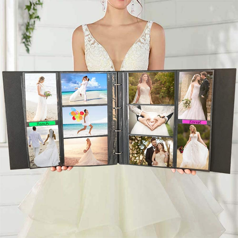 Photo Album 4x6 500 Photos Large 4-Ring Binder Page Expandable Premium Leather Cover Picture Album Holds Vertical and Horizontal Photos Gold, 500 Photos