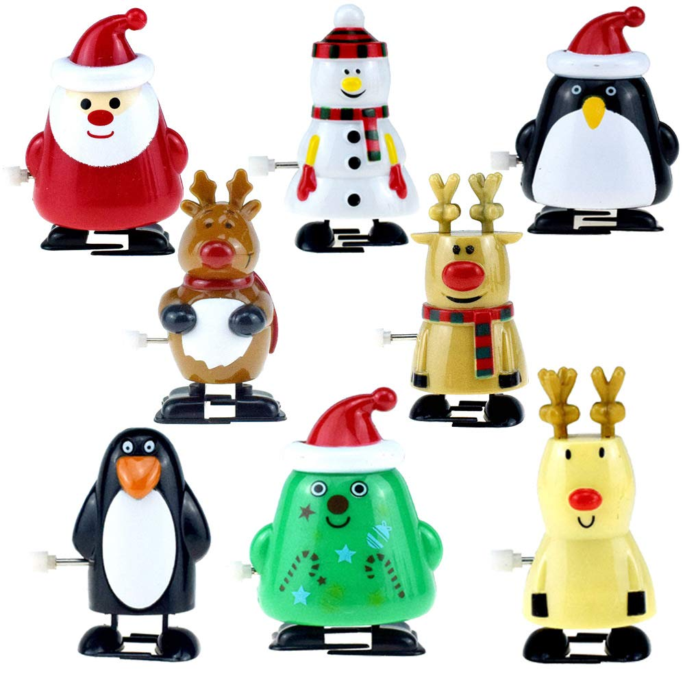 Tpcean 8Pcs Wind Up Toys Christmas Santa Claus Reindeer Snowman Animals Toys For Kids Gift Christmas Party Bag Favors