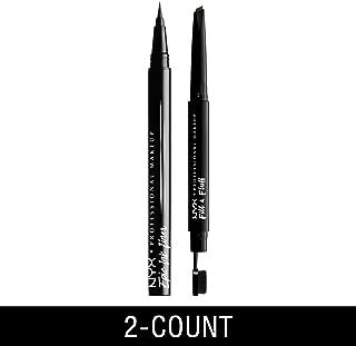 NYX PROFESSIONAL MAKEUP Epic Ink Liner Waterproof Liquid Eyeliner, Black + Fill & Fluff Eyebrow Pomade Pencil, Ash Brown, 2 Count