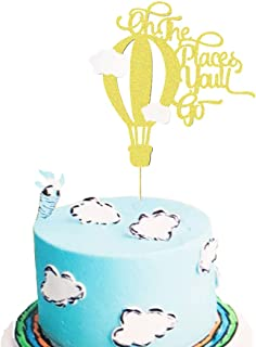 Oh The Places You'll Go Cake Topper Hot Air Balloon Adventure Grad Graduation Cake Topper Up Up Away Bon Voyage Baby Shower Birthday Party Decoration Supplies