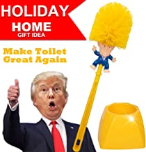 Donald Trump Toilet Brush Cleaner Scrubber Set Funny Trump Toilet Bowl Brush and Holder for Bathroom Storage Non-Skid Base Sturdy Deep Cleaning Make Toilet Great Again(Brush+Base)
