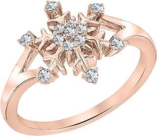 14K Rose Gold Plated 0.35ctw White CZ Diamond Wedding Frozen Snowflake Ring For Women