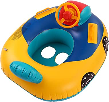 YANQINQINI Baby Pool Float Baby Inflatable Swimming Ring for Age 6-36 Months Toddlers WithThe Steering Wheel and Speakers