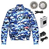 Workwear Fan Jacket with Lithium-Ion Battery Pack for Summer Outdoors,Air-Conditioned Clothes Unisex (Camouflage Blue, L)
