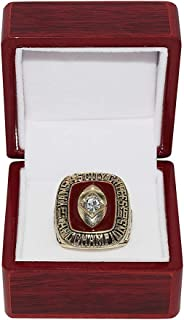 KANSAS CITY CHIEFS (Len Dawson) 1966 AFL WORLD CHAMPIONS (First AFL vs. NFL Super Bowl) Vintage Rare Collectible High-Quality Replica NFL Football Gold Championship Ring with Cherrywood Display Box