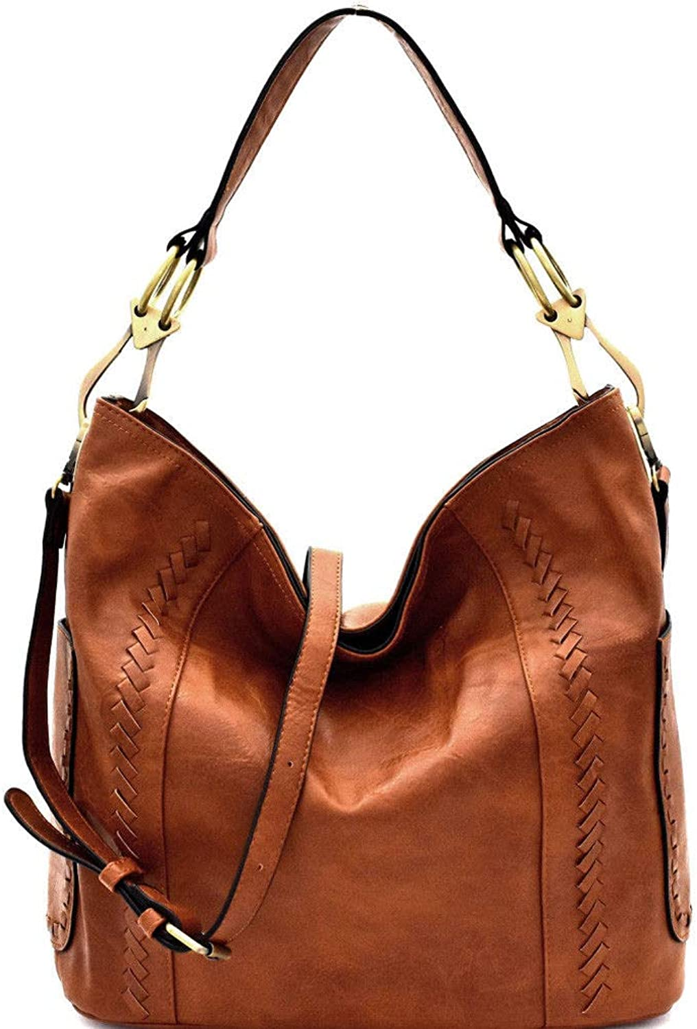 Le Miel Whipstitch Accent ZipTop Hobo w Side Pockets + Strap 7 COLORS