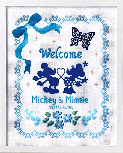 ディズニー クロスステッチ刺繍キット オリムパス フラワーコレクション ウェルカムボード ブルー /7371 [刺