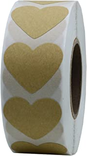 Hybsk Kraft Heart Stickers 30mm Adhesive Labels 1,000 Per Roll (1 Roll)