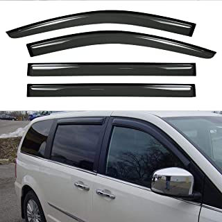 VioGi New 4pcs for 08-13 Town & Country/Grand Caravan Dark Smoke Out-Channel/Outside Mount Style Wind Sun Rain Guard Vent Shade Deflector Window Visors
