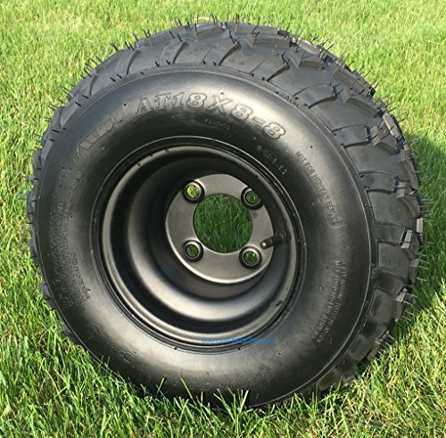 RHOX RXAL 18x8-8 All Terrain Golf Cart Tires and 8' Black Steel Golf Cart Wheels Combo - Set of 4