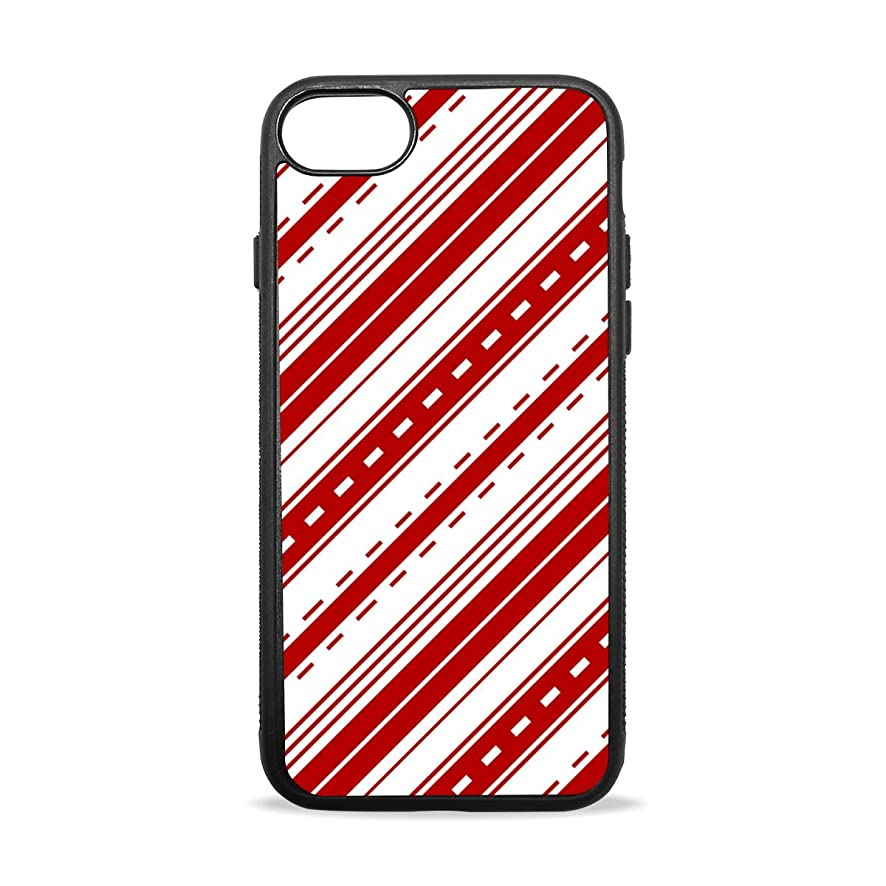 Red Diagonal Striped Decoration iPhone 8/8 Plus case, iPhone 7/7 Plus Case, Slim-Fit Matte TPU Clear Bumper Flexible Rubber Silicone Rugged Thin Protective Phone Case Cover