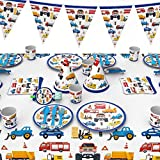 QianChen 66 Pieces Construction Cars Party Supplies Disposable Tableware for Kids,Birthday Party Decorations Including Birthday Banner,Paper Plates Cups Napkins Straws Tablecloth Utensils