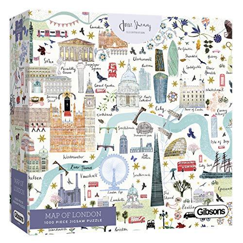 Gibsons White Logo Collection Mapa de Londres 1000 Piezas Rompecabezas (G6606)