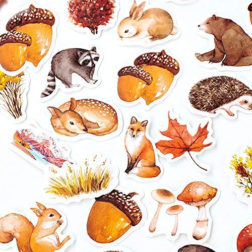 moin moin シール シール フレークシール オータム の 森の動物 アニマル   りす 熊 鹿 たぬき 秋 どんぐり...