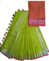 mj silks Women's Bhagalpuri Linen Saree With blouse piece (_Parrot Green)