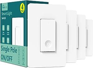 Smart Switch 4 Pack, Treatlife 2.4Ghz Smart Light Switch WiFi Light Switch Single-Pole, Neutral...