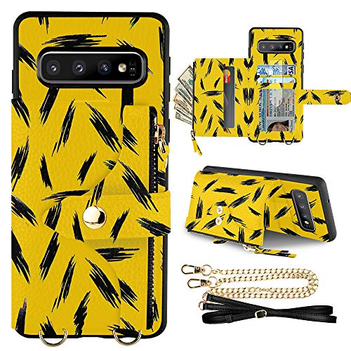 LAMEEKU Leather Wallet Case for Samsung Galaxy S10, Galaxy s10 Wallet Case with Card Holder Zipper Wallet Case with Crossbody Wristlet Back Cover Compatible with Galaxy S10(2019), 6.1 inches-Yellow
