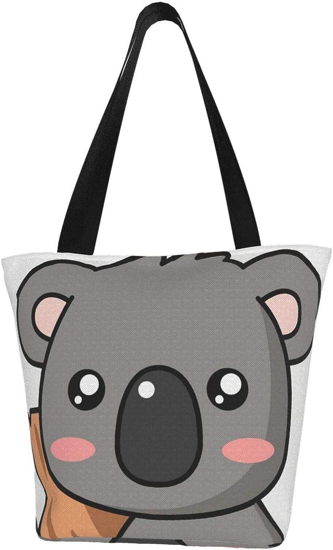 Koala Cartoon Cute Bear Tree Themed Printed Women Canvas Handbag Zipper Shoulder Bag Work Booksbag Tote Purse Leisure Hobo Bag For Shopping