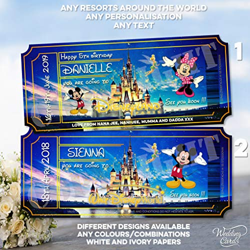 Wedding Cards Walt Disney World Florida Orlando Disneyland Paris Land Mickey Mouse Trip Reveal Ticket Card Wallet Princess Surprise Announcement