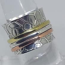 Handmade Textured Sterling Silver, Brass & Copper Spinner Ring 6
