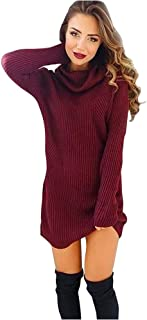 Vicbovo Clearance Sale Women Turtleneck Long Sleeve Knit Mini Sweater Dress Bodycon Pullover Jumper
