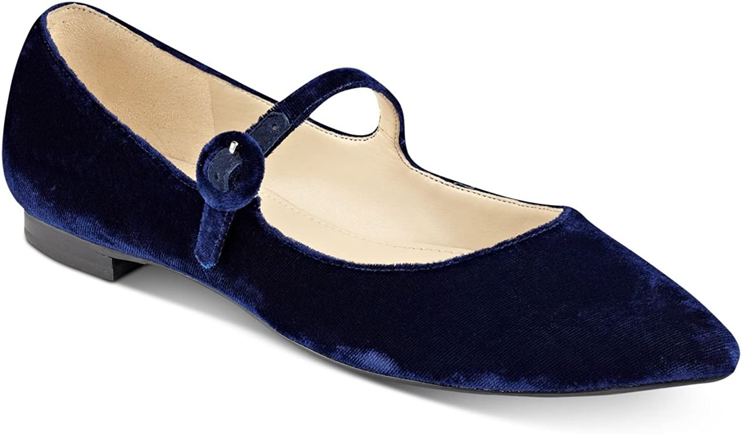 Marc Fisher Womens Stormy Pointed-Toe Ballet Flats Dark bluee