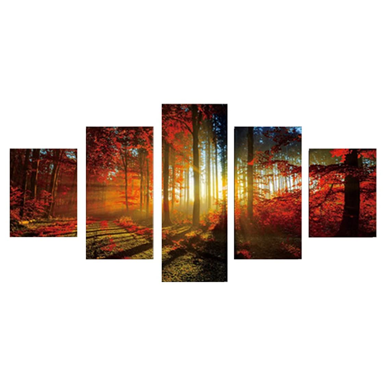 Whitelotous Five Panels Landscape Scenery Frameless Painting Decorative Painting Canvas Oil Painting Home Decoration