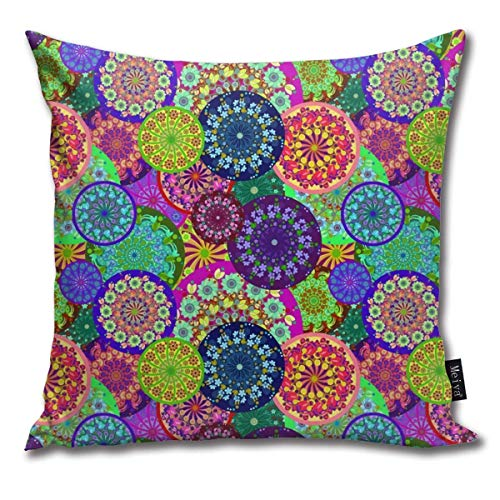 ewretery Colorful Flower Mandalas Cushion Covers Home Decorative Throw Pillowcases for Livingroom Sofa Bedroom Car 18X18inch