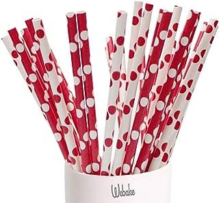 Webake 150pcs Paper Straws Biodegradable Straw, Christmas Decorations Red Polka Dot 7.75 Inch Dots Drinking Straws for Christmas, Birthdays, Weddings, Celebrations, Party
