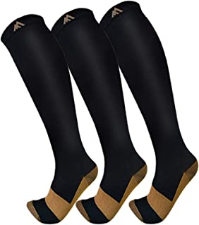 3 Pack Copper Compression Socks - Compression Socks Women & Men Circulation - Best for Medical,Running,Athletic