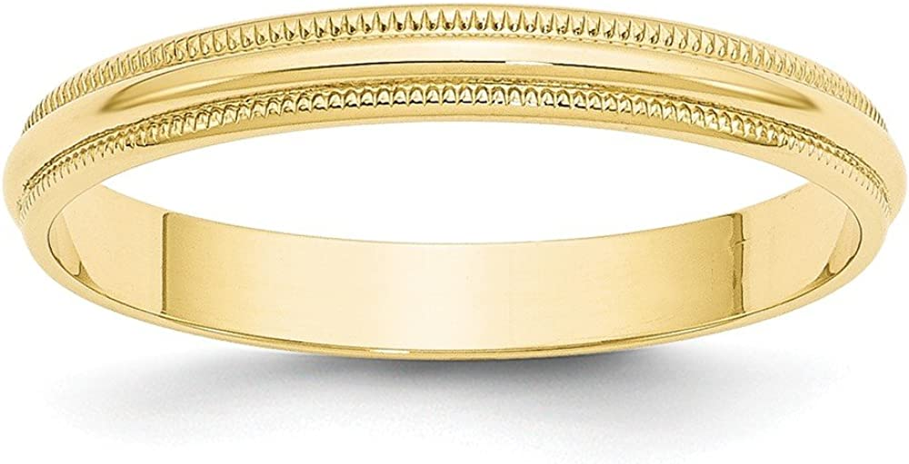 10k Yellow Gold 3mm Milgrain Half Round Wedding Ring Band Size 10 Classic Fine Jewelry For Women Gifts For Her