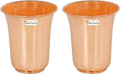 Prisha India Craft Pure Copper Glass Tumbler, Drinkware Set, Capacity 260 ML, Set of 2