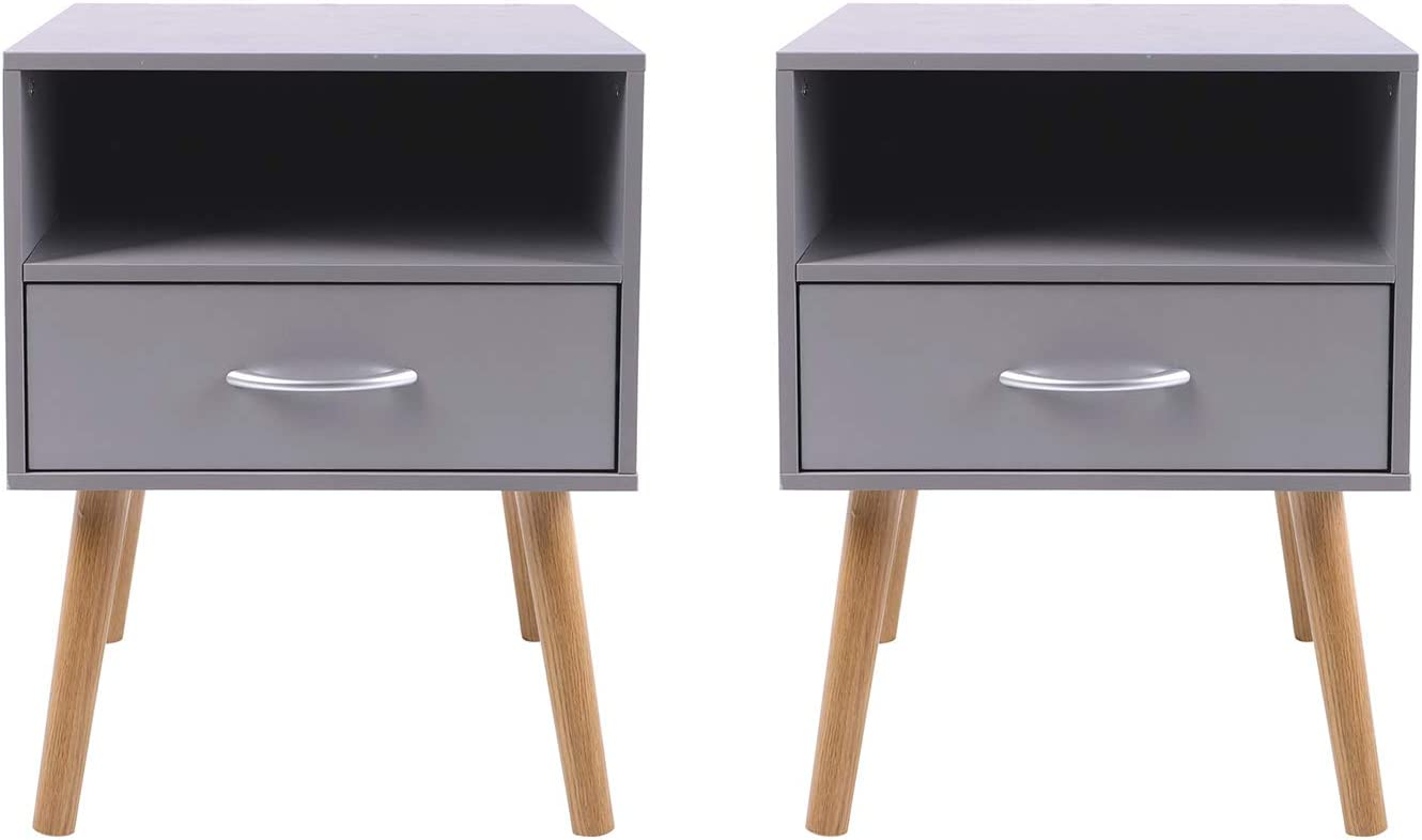 Beliwin Bedside Table One Drawer Storage Wood Small Side Table End Table Grey-2