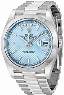 Rolex Day-Date Automatic Ice Blue Dial Platinum Mens Watch 228206 IBLSP