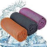 IYOKA Serviette Rafraîchissante Serviette de Fitness 3 Pièces Serviette en Microfibre pour la Course, Le Trekking, Les Voyages et Le Yoga