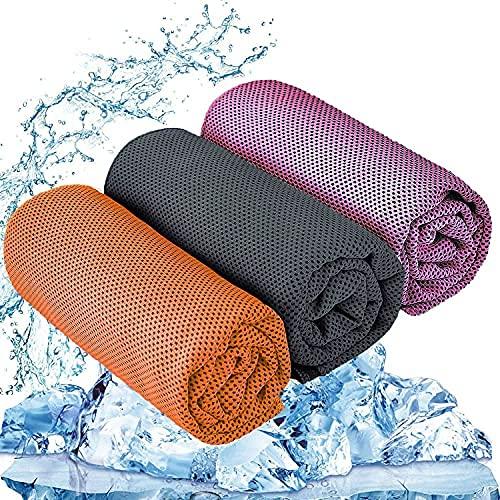 Kühlendes Handtuch Set, 3er Cooling Towel Microfaser Handtücher, Sport handtücher geeignet für Yoga Fitness, Camping, Reisen, Freizeit usw.