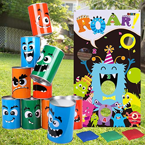 Tacobear Monsters Bean Bags Kids Throwing Halloween Toss Games for Kids with 3 Bean Bags 10 Tin Can Alley Game Toss Banner Carnival Birthday Party Games Bean Bag Toss for Indoor Outdoor Games