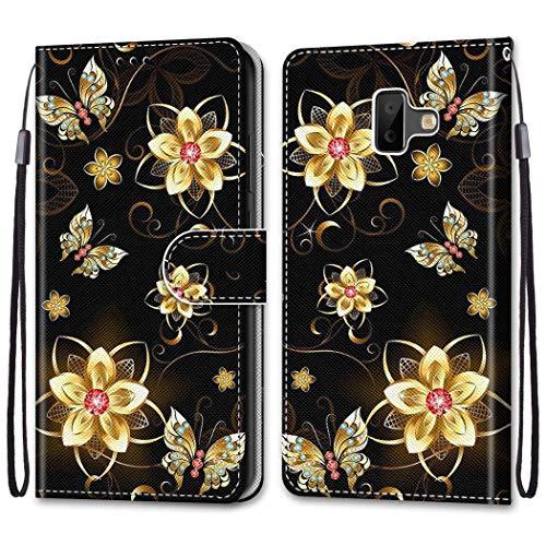 Nadoli Bunt Leder Hülle für Samsung Galaxy J6 Plus 2018,Cool Lustig Tier Blumen Schmetterling Entwurf Magnetverschluss Lanyard Flip Cover Brieftasche Schutzhülle mit Kartenfächern