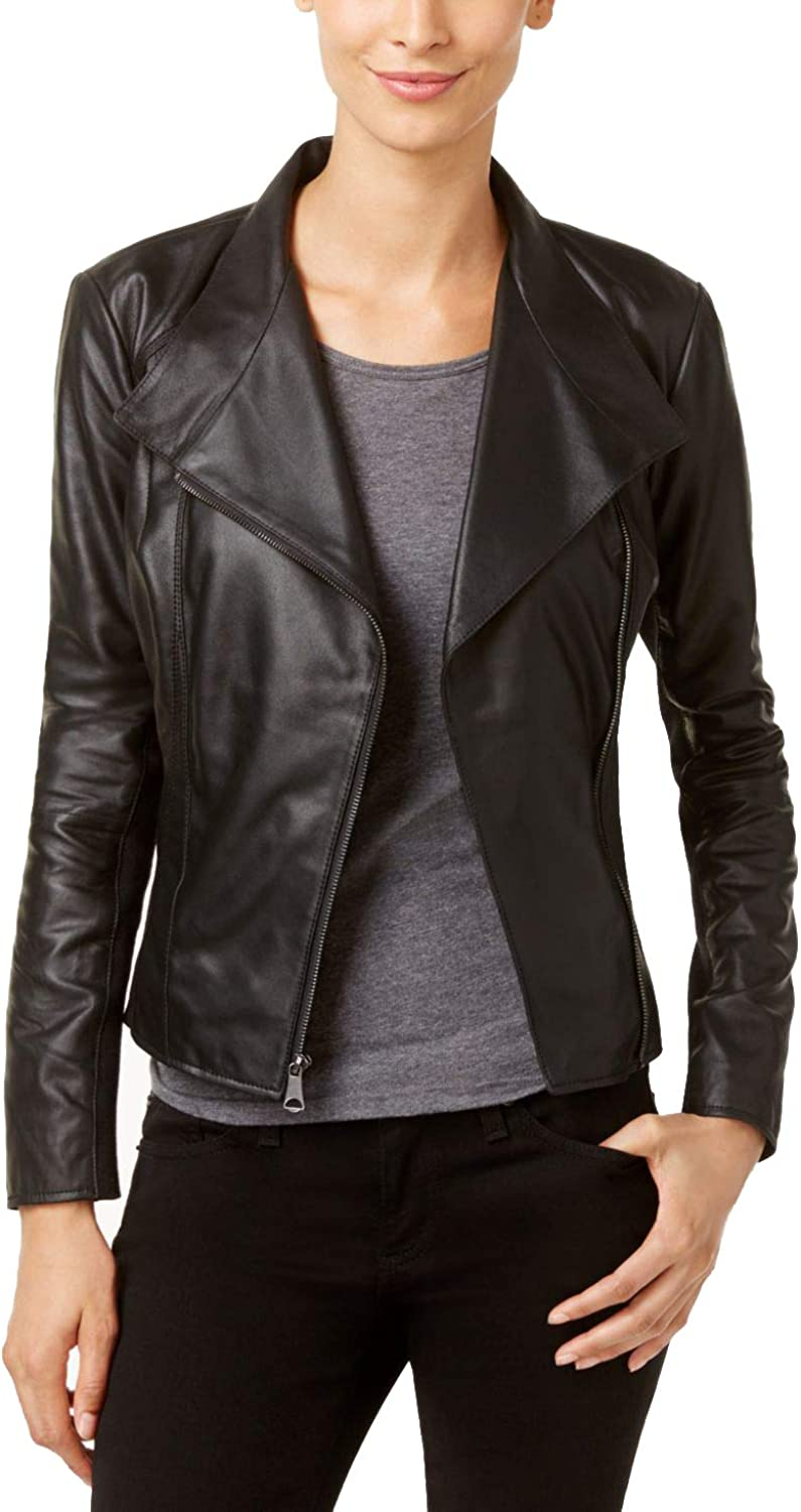 Marc New York by Andrew Marc Womens Felix 19  Feather Leather Jacket