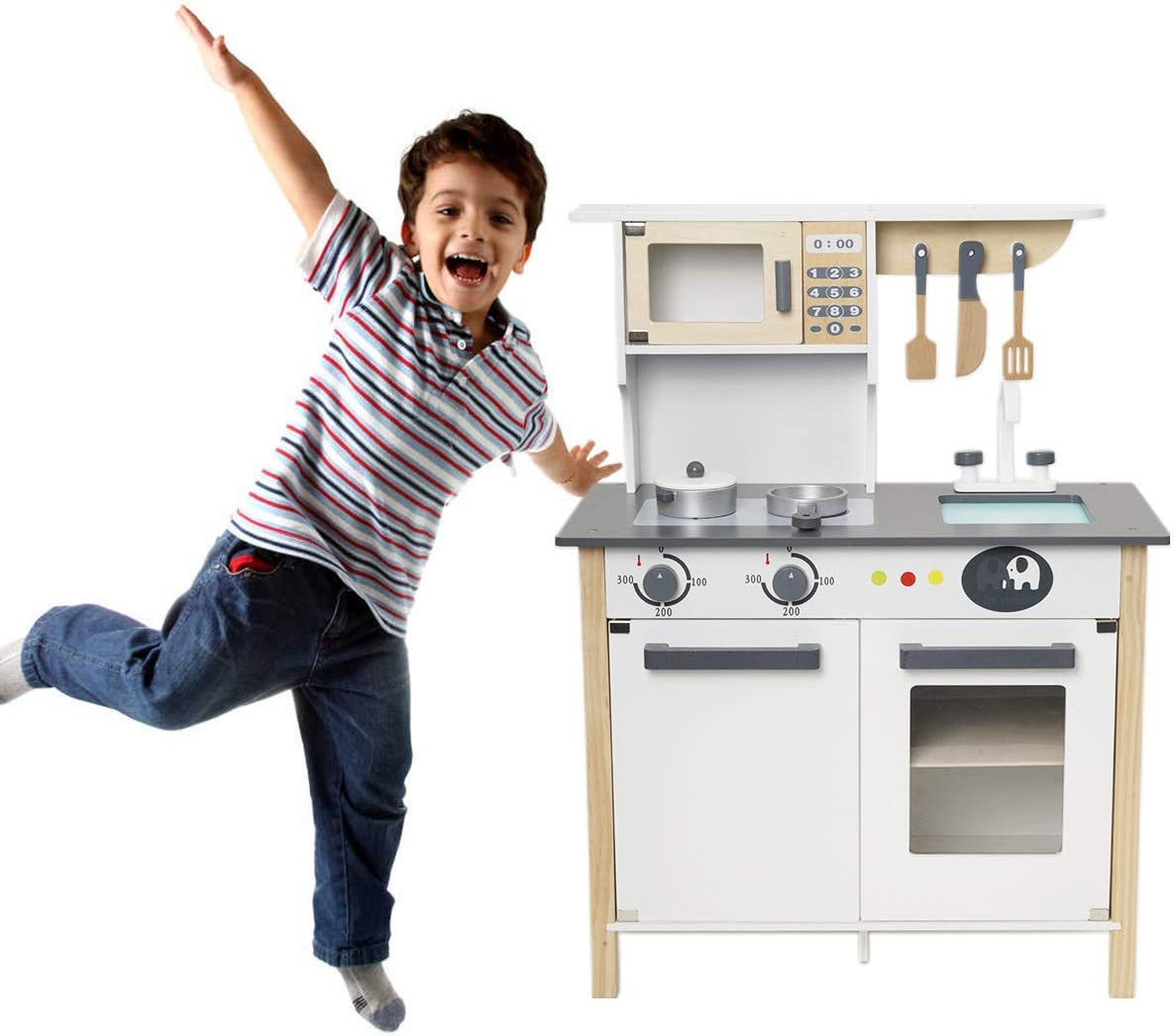 ROBUD Wooden Pretend Play Kitchen Set for Kids Toddlers, with Cookware Accessories - Best Toys Gifts for Boys and Girls: Toys & Games