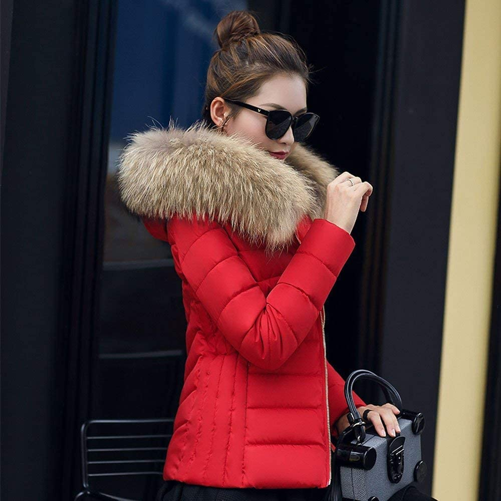 ORANDESIGNE Damen Warm Mantel Wintermantel Kurz Winterjacke Daunenjacke Dickere Slim Fit Parka Reißverschluss Jacke Übergangsjacke mit Fellkapuze Rot