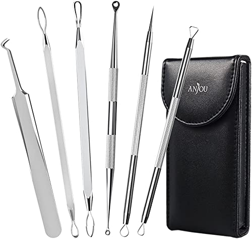 Anjou Blackhead Remover Comedone Extractor, Curved Blackhead Tweezers Kit, 6-in-1 Professional Stainless Pimple Acne ...