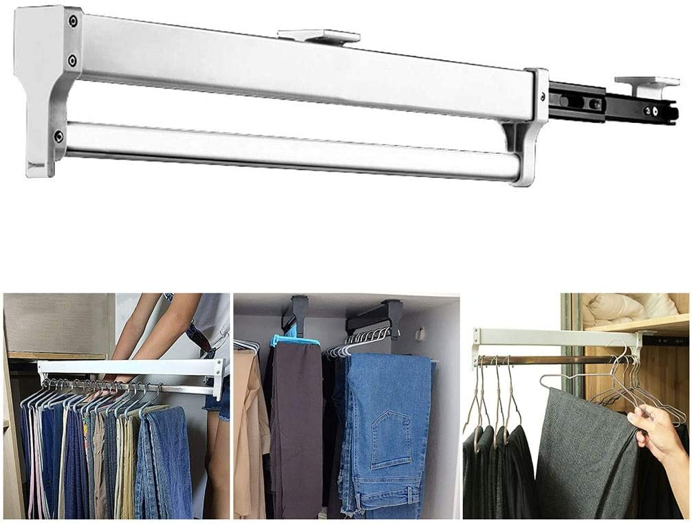 Pull Out Clothes Popular Hanger Rail Extendable Los Angeles Mall Adjustable Rod Closet