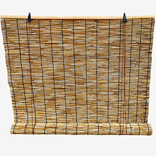 HJRD Persianas de Caña, Persianas enrollables de bambú Natural, Estores de Bambú - Cortina de Paja para Porche/Patio/Pérgola/Gazebo(60x90cm/24x36in2pc)