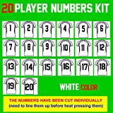 Team Pack Numbers,8' Tall,1-20 consecutively(31 Pieces) Heat Transfer Vinyl Numbers,for Sports T-Shirt Jersey Football Baseball,Iron On,t-Shirt,Same Your time & Money(Style A)(White)