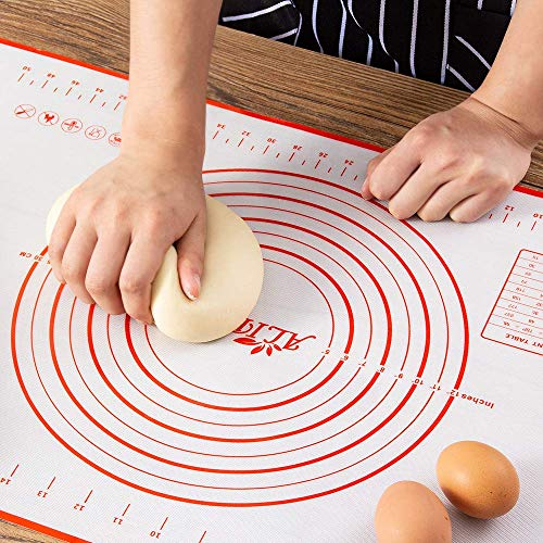 ALIPOBO Extra Thick Silicone Pastry Mat with Measurements,Non Stick Silicone Baking Mat for Making Cookies,Non Slip Dough Rolling Mat (16''(W)20''(L))