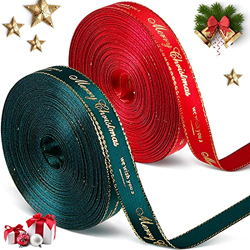 2 Rollos Cintas de Merry Christmas Cinta de Raso de Navidad Cinta Decorativa de Grosgrain de Embalaje para Decoración de Fiesta de Navidad, 0,39 Pulgadas de Ancho y 10 Yardas por Rollo