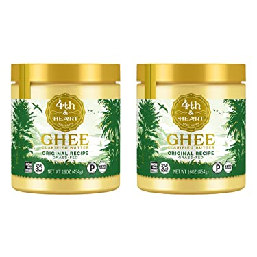 4th & Heart Original Ghee Original Grass Fed Ghee Butter by , (2 x 16oz Jars), Keto, Pasture Raised, Non-GMO, Lactose and Casein Free, Certified Paleo, 32 Ounce (Pack of 2)