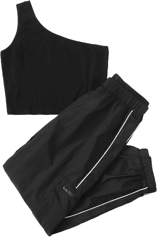 Milumia Women 2PCS Sporty One Shoulder Crop Top Tee and Active Running Sweatpants Wind Pants Set